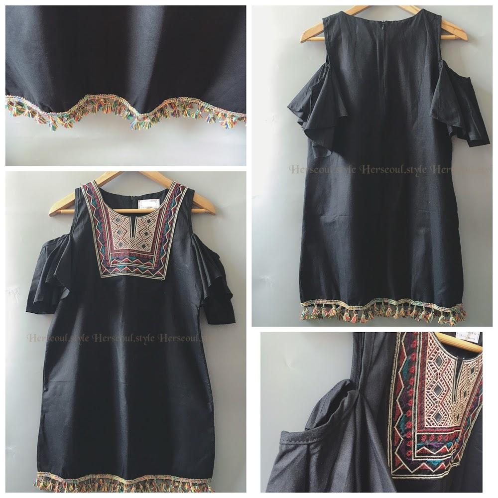 🈹♣️黑色民族刺繡off shoulder連身裙♣️