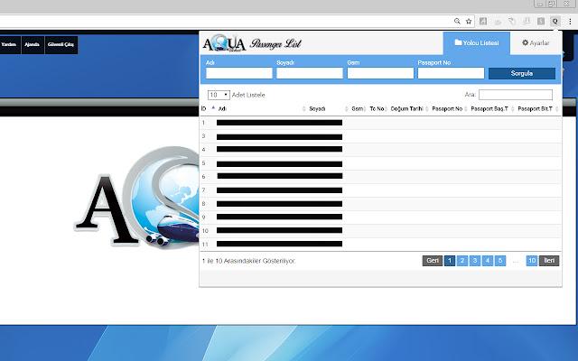 Aqua Ticket Passenger List