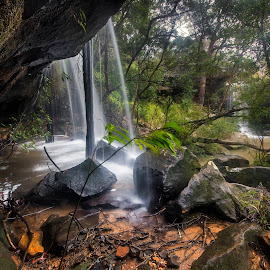 Behind by Geoffrey Wols - Nature Up Close Water ( forest, green, rocks, waterfall, bush, girakool, water,  )