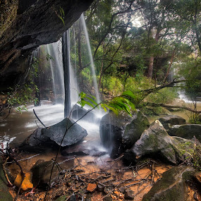 Behind by Geoffrey Wols - Nature Up Close Water ( forest, green, rocks, waterfall, bush, girakool, water,  )