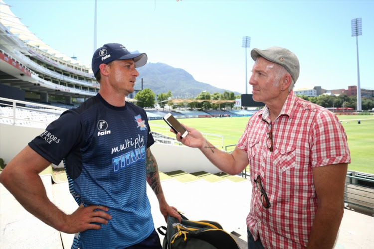 Dale Steyn is interviewed by Journalist Telford Vice during the Multiply Titans training session at PPC Newlands on December 07, 2017 in Cape Town, South Africa.