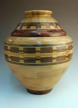 "Photo: Stan Sherman - Alternate Block Lidded Vessel - 11.5"" x 8.5"" - maple, walnut, holly, canarywood"