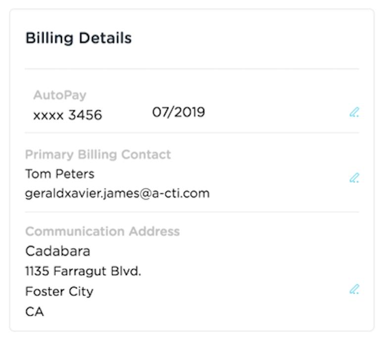 billing details new