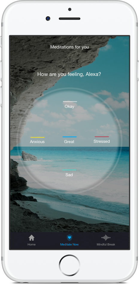 Photo of an iPhone with the Aura app asking how the user is feeling.