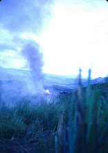 Photo: Ammo dump on fire on LZ Peanuts.  May 4, 1968.  Mike Kern picture.