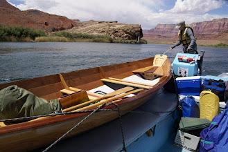 Photo: Loading boats & gear on motorized rafts.