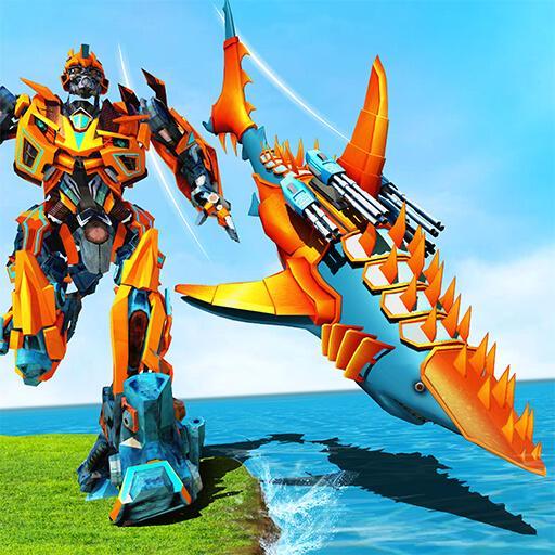 Tiburón robot transformando guerras