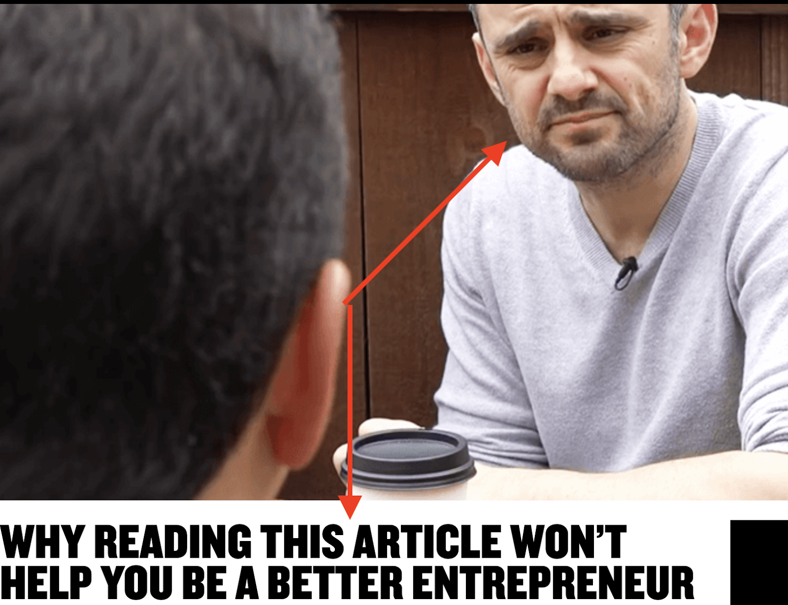 Gary Vaynerchuks banner on his article