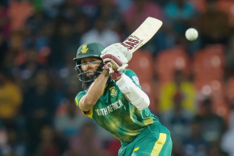 Hashim Amla of South Africa playing a shot during the 4th ODI between Sri Lanka and South Africa at Pallekele International Cricket Stadium on August 08, 2018 in Pallekele, Sri Lanka.