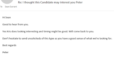 Photo: Email received from candidate