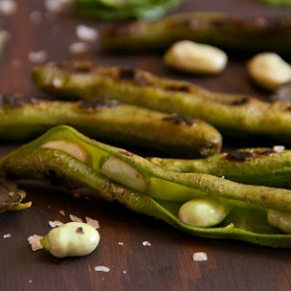 Charred Fava Bean Pods with Smoked Sea Salt