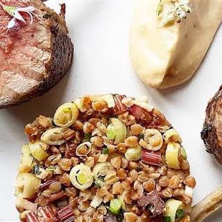 Lamb Chops with Warm Buckwheat Salad and Tzatziki.