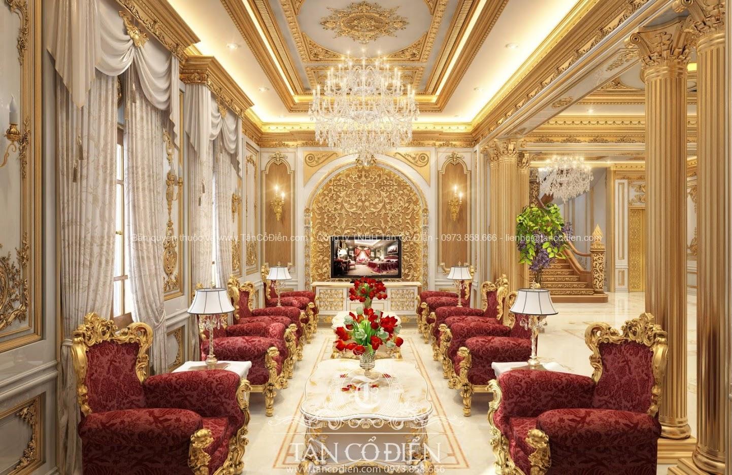 Phòng khách biệt thự cổ điển mang nét quý phái