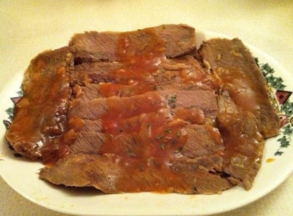 Pour ketchup and remaining 1 cup of water over brisket; return to stove, cover...