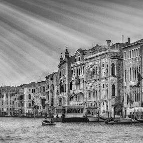 Venice by Wira Suryawan - Black & White Landscapes ( water, amazing, dam, boats, venice, italy, wonderful,  )