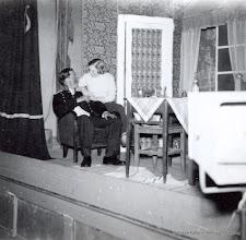 Photo: Bygdegården 1952 Amatörteater. Jörgen Jörgenssen dräng i Löa och Gun Eriksson Kilen