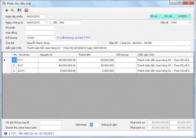 Phiếu thu phần mềm kế toán 3tsoft