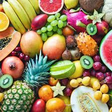 fruits with pineapple, oranges, grapes, apples, kiwis