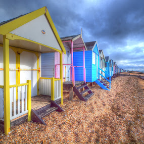beach huts by Martin Hughes - Landscapes Beaches ( beach huts, thorpe bay, essex )
