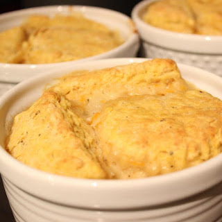 Vegetable Loaded Pot Pies Topped with a Savory Pumpkin Biscuit