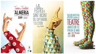 El cartel de la Feria de Almería y otras dos creaciones del autor, Rubén Lucas.