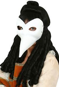 Ögonmask, vit venetiansk