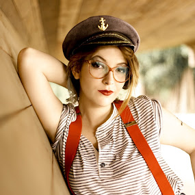 Gi - Sailor by Gabriel Fox - People Portraits of Women ( glasses, cosplay, sailor, cap, mariner, pose, ship, model, portrait, costume, look,  )