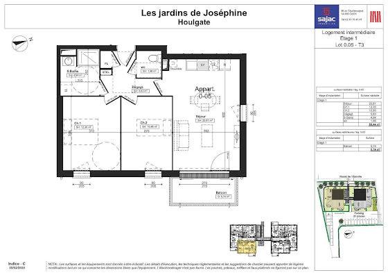 Vente appartement 3 pièces 58,44 m2
