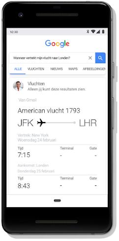 Scherm met resultaten van Google Zoeken voor vluchtinformatie