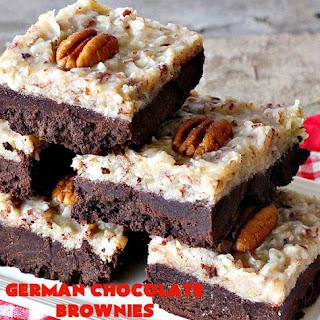 GERMAN CHOCOLATE BROWNIES.