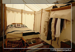 """Photo: The inside of a large tent used by one of the """"mountainmen"""" at the Festival."""