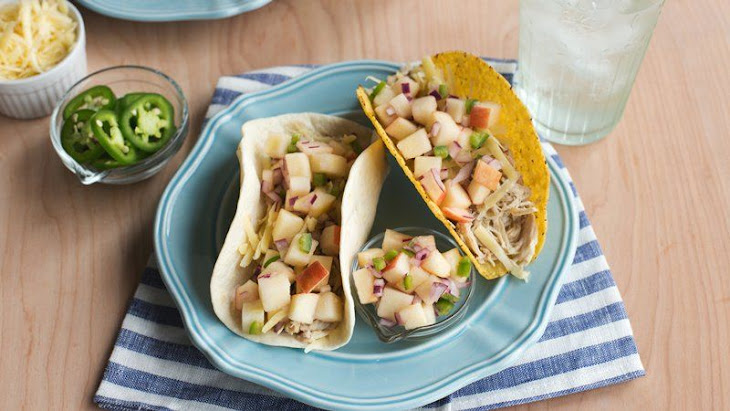 Slow-Cooker Cider-Braised Chicken Tacos with Apple Jalapeño Salsa ...