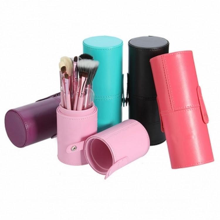 12 pcs makeup brushes pu vegan leather tube Canister Cylinder case holder by Supermodels Secrets