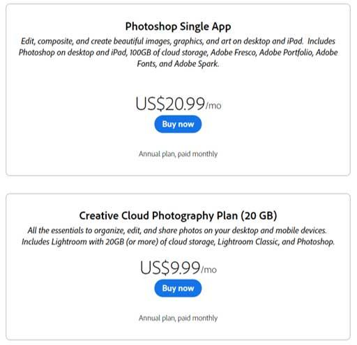 Photoshop single App price