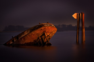 "Photo: ""Decay at the River""  As I had the opportunity to catch yesterdays easter fires at river Elbe, I took the chance to capture this old ship wreck... The easter fires at the water side were a good light source, but I had some trouble with focussing ^^  #shipwreck #river #elbe #hamburg #hamburgphotographers #longexposure #decay"