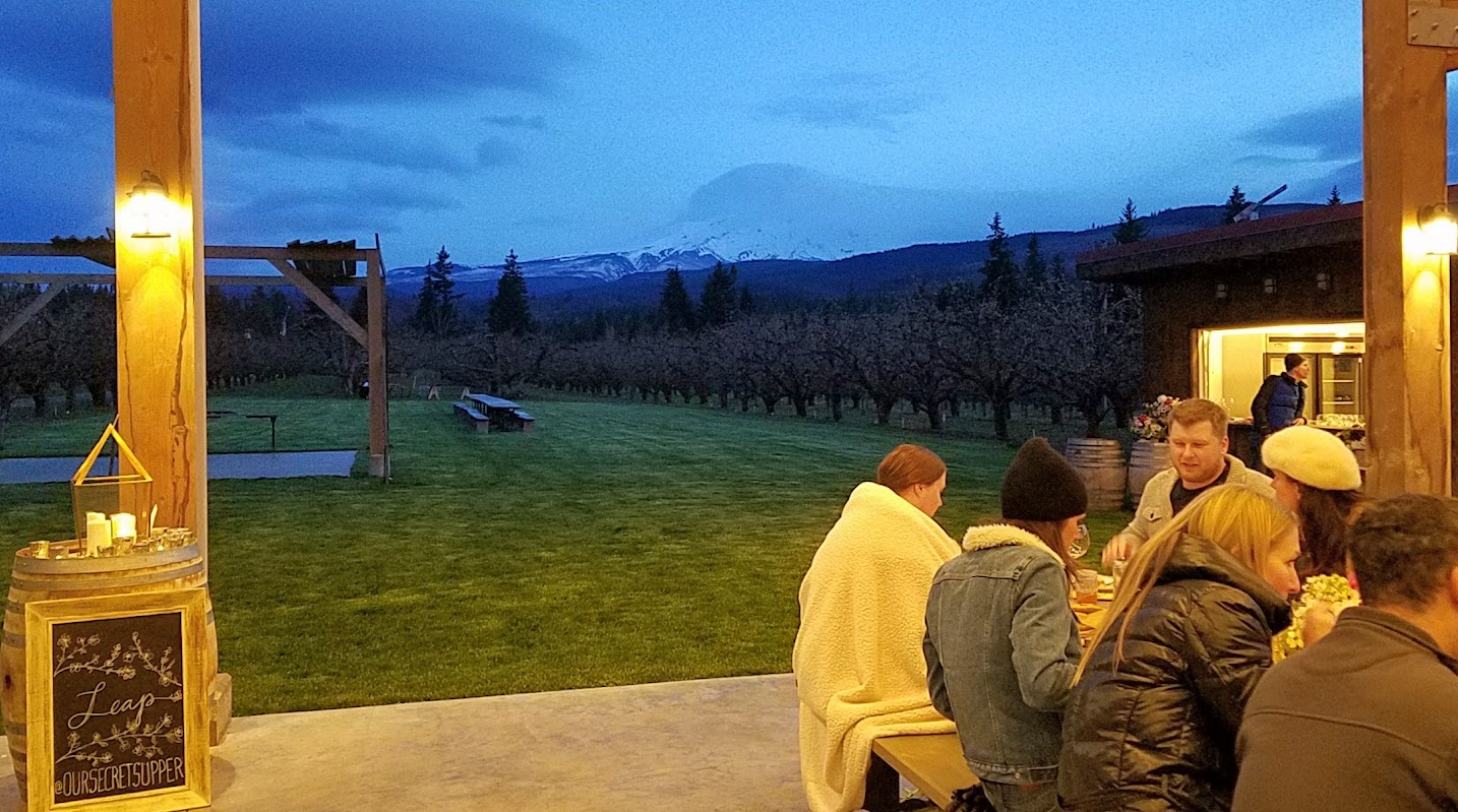 Mount Hood ever present in the background at Our Secret Supper Leap Dinner