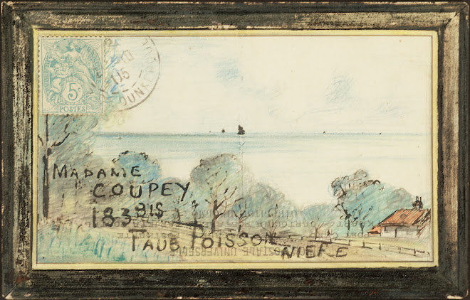 <p> <strong>L&eacute;on Coupey<br /> To Madame Coupey (Paris)</strong><br /> Ink on card<br /> 3 &frac12;&quot; x 5 &frac12;&quot;<br /> 1905</p> <p> Collection Pierre Coupey, Vancouver<br /> Set 2.5</p>