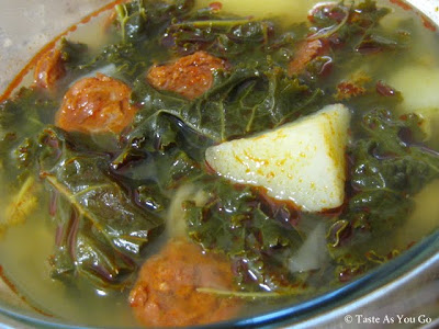 Portuguese Chouriço, Kale and Potato Soup - Photo by Taste As You Go
