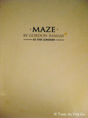 Menu Cover at Maze at The London NYC by Gordon Ramsay - Photo by Taste As You Go