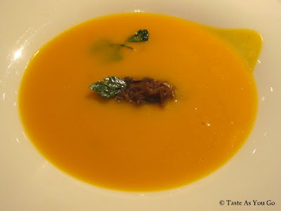 Hubbard Squash Soup with Ragout of Braised Duck and Black Truffle at Maze at The Londong NYC by Gordon Ramsay in New York, NY - Photo by Taste As You Go