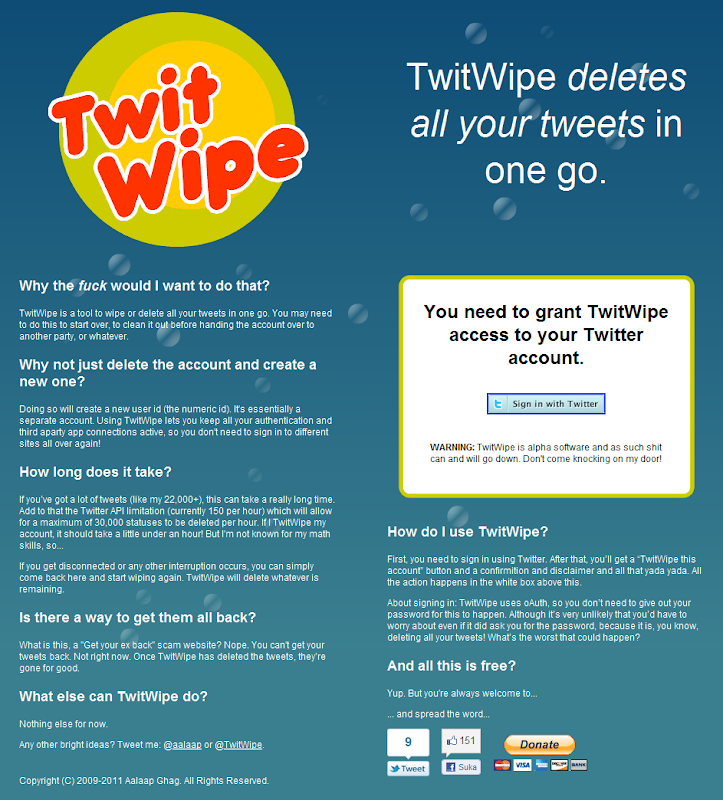 twitwipe.com Hapus Massal Tweet dengan TwitWipe