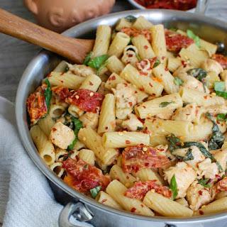 Mozzarella Chicken Pasta with Sun-dried Tomatoes.