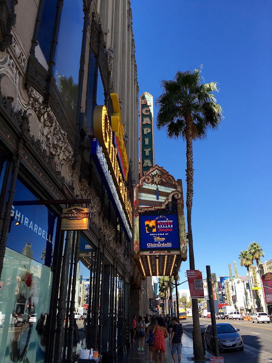The sign outside of El Capitan Theater.