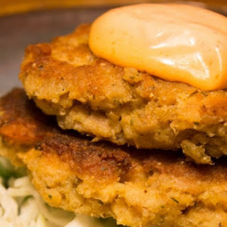 Salmon Patties with Spicy Mayo.