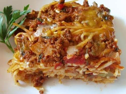"""Baked Spaghetti""""This recipe is AMAZING! I followed it exactly! Do try this..."""