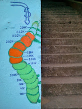 Photo: Fundraising caterpillar at foot of Hidden Garden Steps site (16th Avenue and Kirkham Street, in San Francisco's Inner Sunset District), showing campaign nearing its $300,000 goal in May 2013. For more information about the Hidden Garden Steps project, please visit http://hiddengardensteps.org and/or follow us on Twitter (@gardensteps), Facebook (Hidden Garden Steps), and Google+.