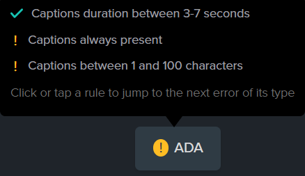 The ADA compliance button which shows the guidelines for duration, always present, and between 1 and 100 characters