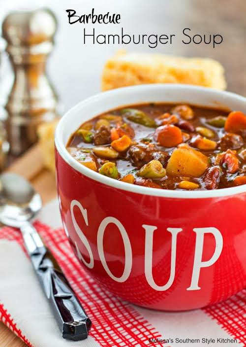 "Barbecue Hamburger Soup""This barbecue laced hamburger soup is one of those ""clean..."
