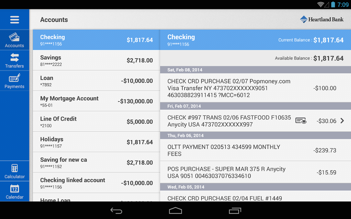 Heartland Bank (NE) for Tablet- screenshot