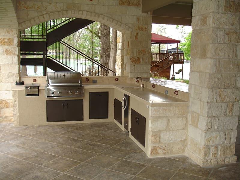 Beige Modular Kitchen Cabinets